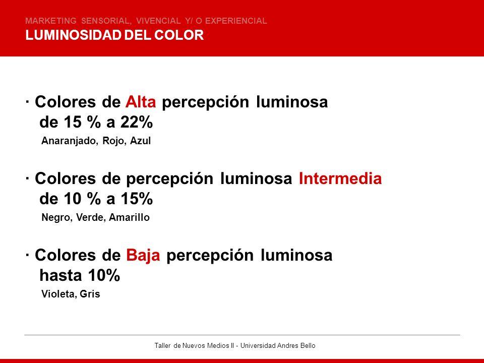 Taller de Nuevos Medios II - Universidad Andres Bello LUMINOSIDAD DEL COLOR MARKETING SENSORIAL, VIVENCIAL Y/ O EXPERIENCIAL · Colores de Alta percepc
