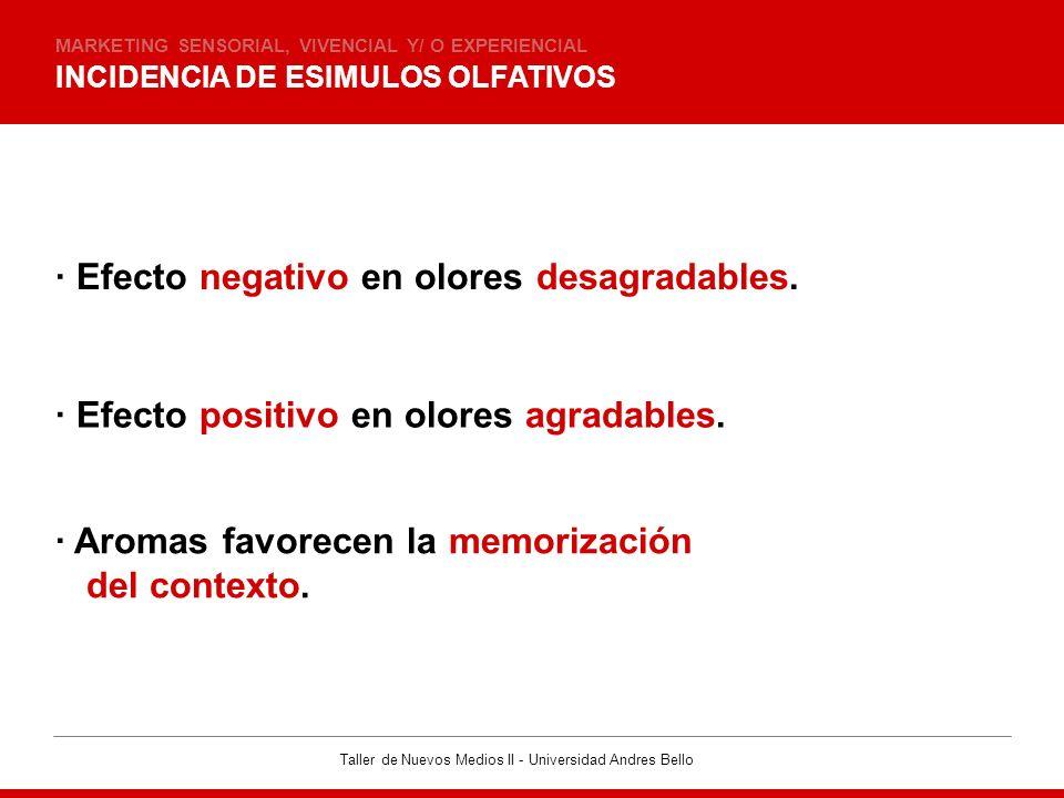 Taller de Nuevos Medios II - Universidad Andres Bello INCIDENCIA DE ESIMULOS OLFATIVOS MARKETING SENSORIAL, VIVENCIAL Y/ O EXPERIENCIAL · Efecto negat