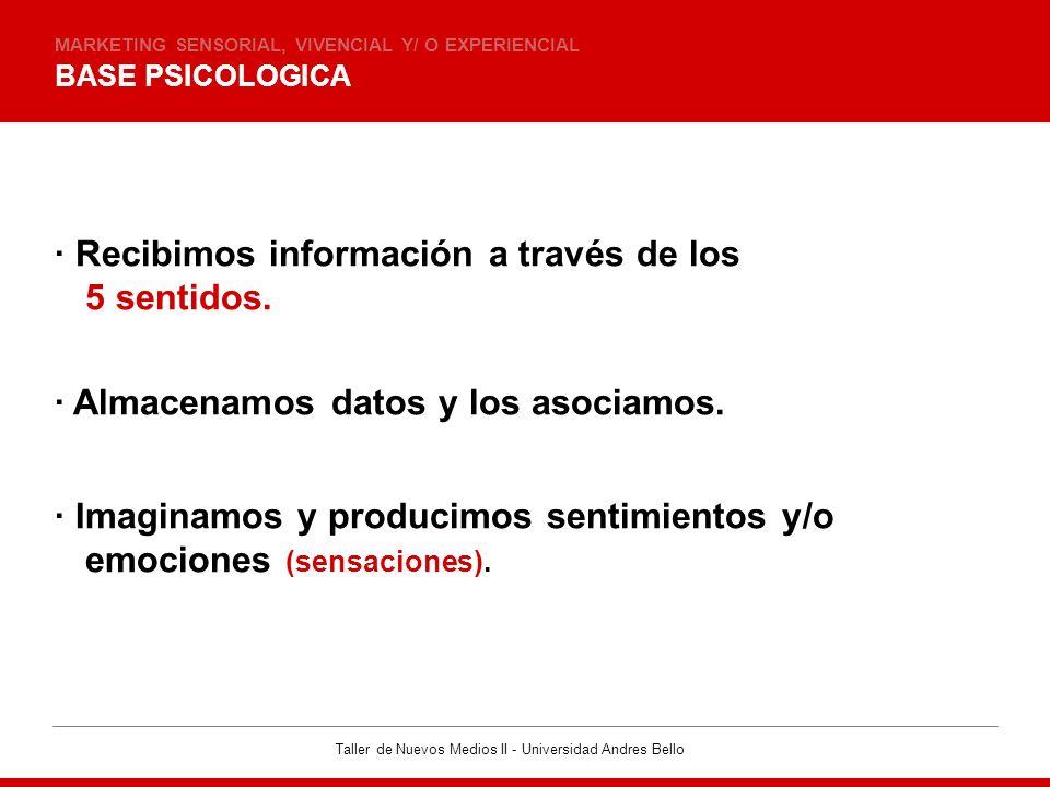 Taller de Nuevos Medios II - Universidad Andres Bello MEMORIA, RECUERDOS Y SENTIDOS MARKETING SENSORIAL, VIVENCIAL Y/ O EXPERIENCIAL · Memoria a CORTO, MEDIANO y LARGO plazo.