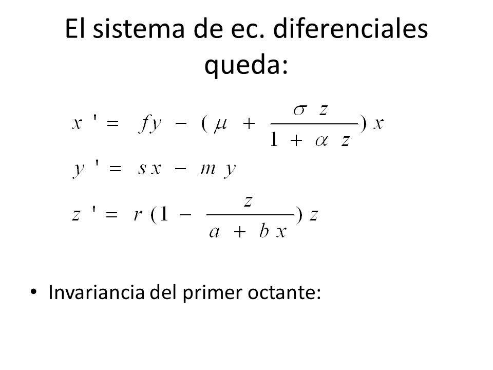El sistema de ec. diferenciales queda: Invariancia del primer octante: