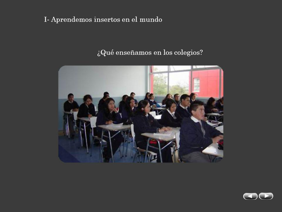 I- Aprendemos insertos en el mundo ¿Qué enseñamos en los colegios