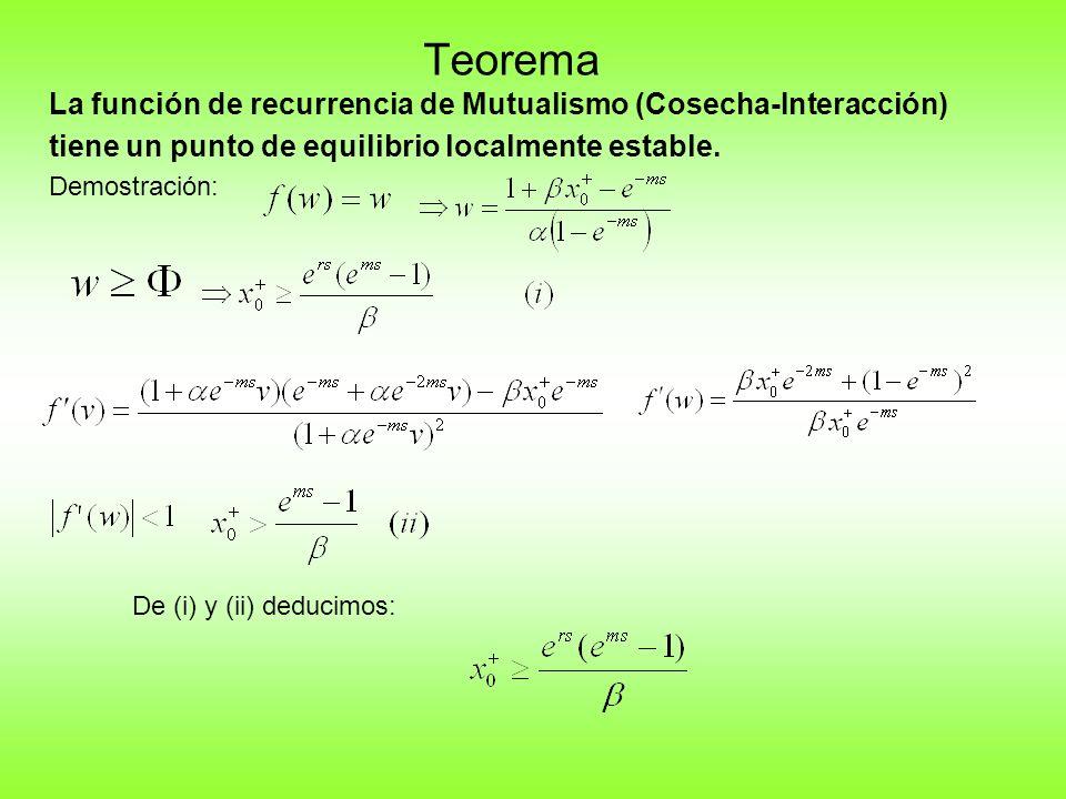 Teorema La función de recurrencia de Mutualismo (Cosecha-Interacción) tiene un punto de equilibrio localmente estable.