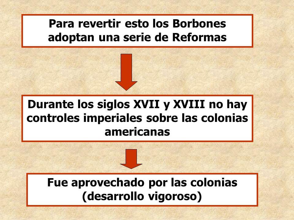 Durante los siglos XVII y XVIII no hay controles imperiales sobre las colonias americanas Fue aprovechado por las colonias (desarrollo vigoroso) Para