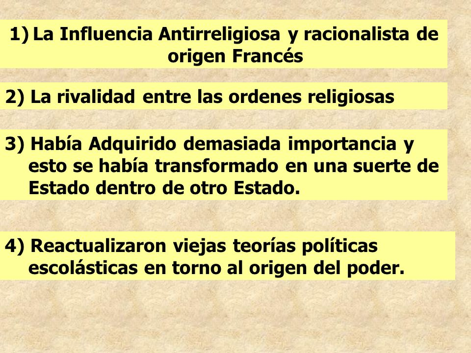 4) Reactualizaron viejas teorías políticas escolásticas en torno al origen del poder. 1)La Influencia Antirreligiosa y racionalista de origen Francés