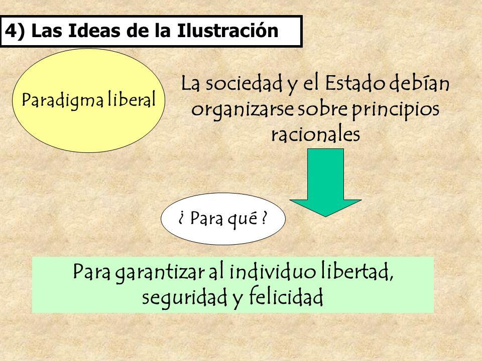 4) Las Ideas de la Ilustración Paradigma liberal La sociedad y el Estado debían organizarse sobre principios racionales ¿ Para qué ? Para garantizar a