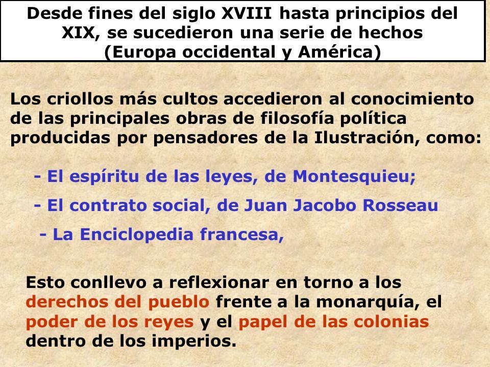 Desde fines del siglo XVIII hasta principios del XIX, se sucedieron una serie de hechos (Europa occidental y América) Los criollos más cultos accedier