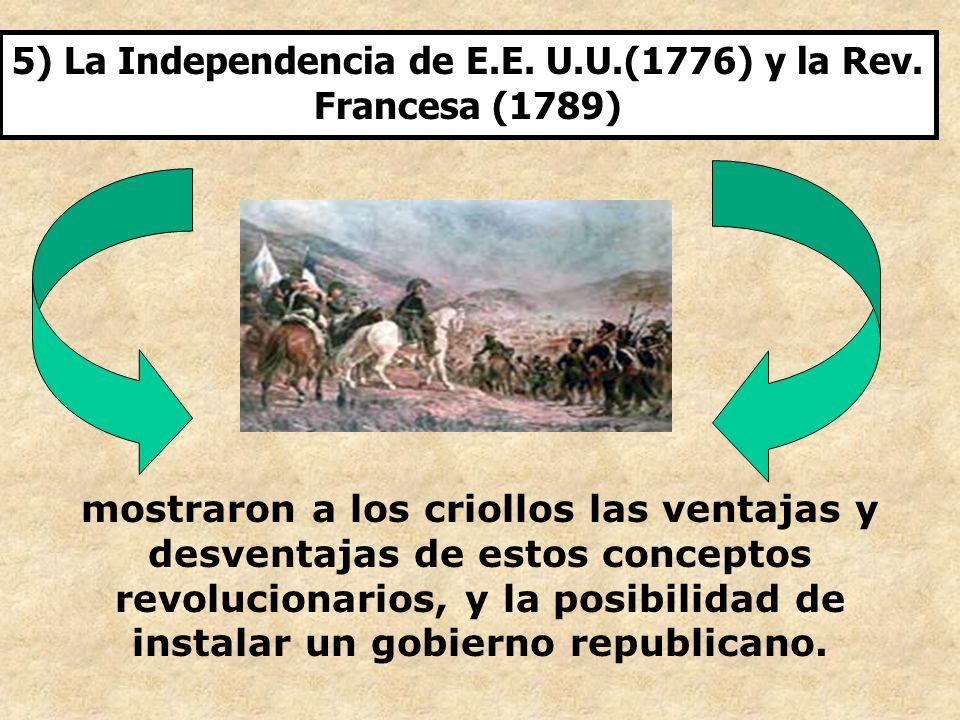 5) La Independencia de E.E. U.U.(1776) y la Rev. Francesa (1789) mostraron a los criollos las ventajas y desventajas de estos conceptos revolucionario