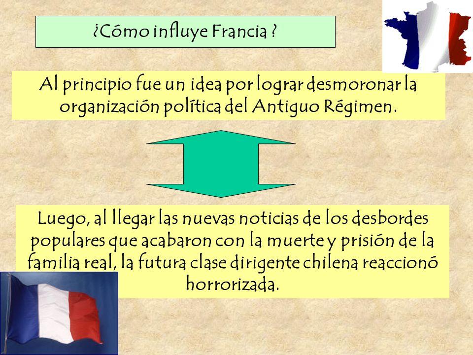 ¿Cómo influye Francia ? Al principio fue un idea por lograr desmoronar la organización política del Antiguo Régimen. Luego, al llegar las nuevas notic