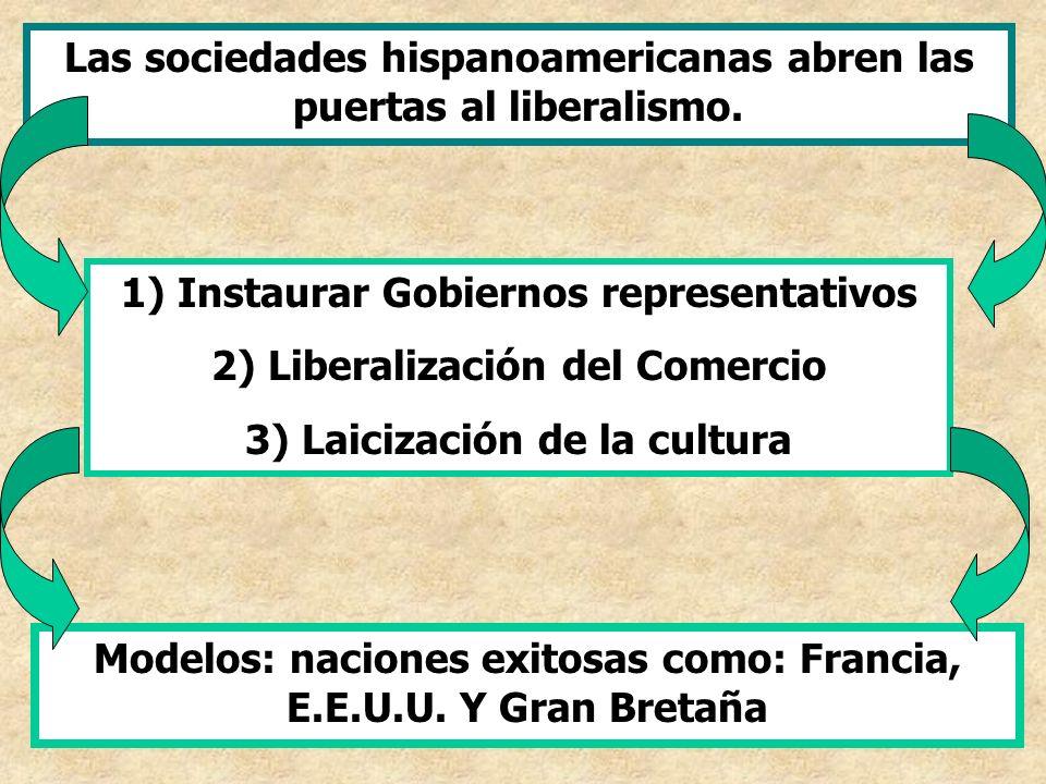 Las sociedades hispanoamericanas abren las puertas al liberalismo. 1) Instaurar Gobiernos representativos 2) Liberalización del Comercio 3) Laicizació