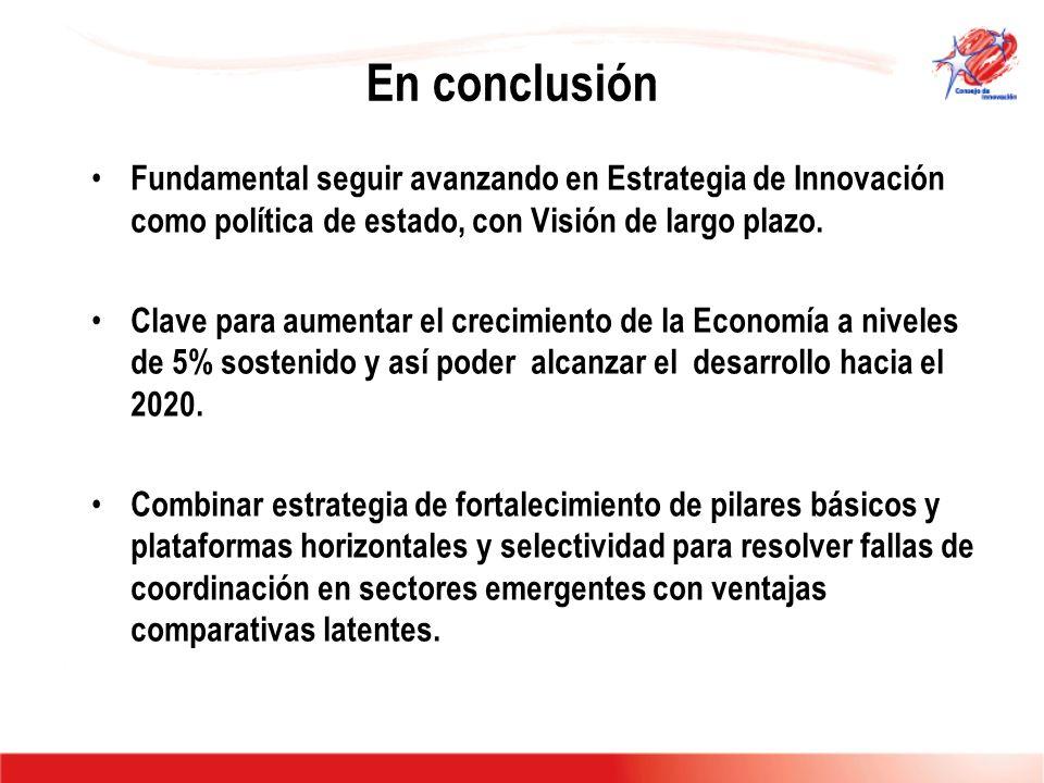 En conclusión Fundamental seguir avanzando en Estrategia de Innovación como política de estado, con Visión de largo plazo. Clave para aumentar el crec