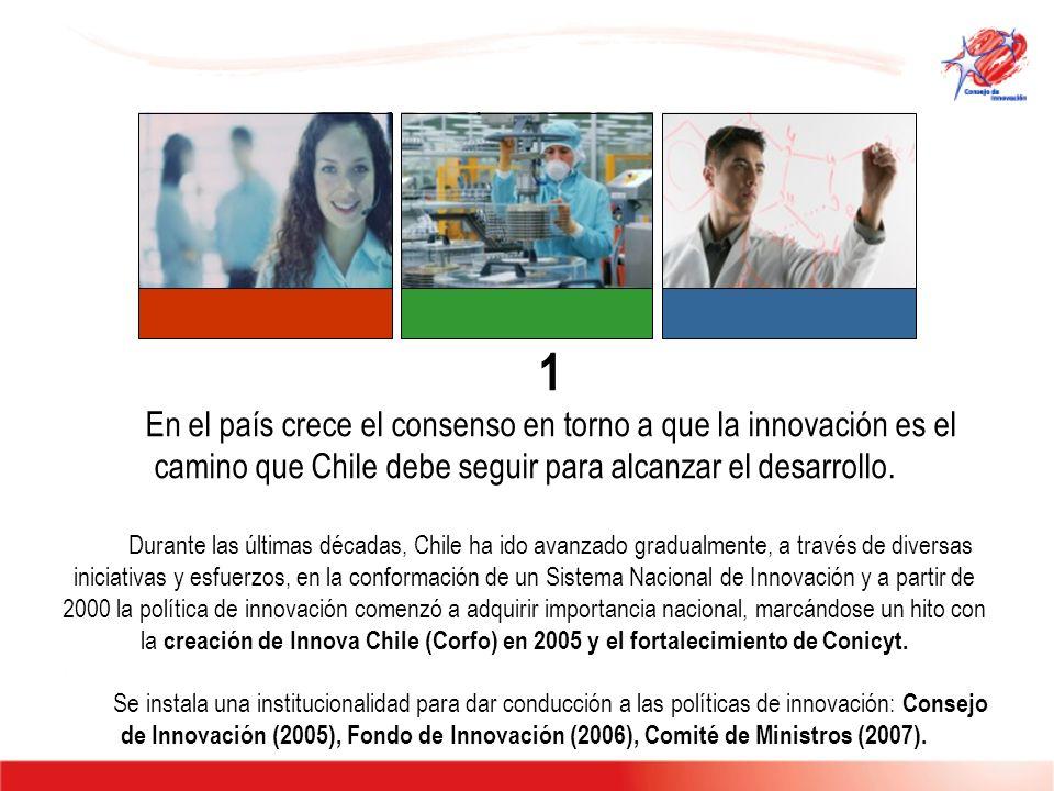 2 Chile cuenta hoy con una Estrategia de Innovación para la Competitividad que nos pone en la senda de la Economía del Conocimiento y se enfoca en el desarrollo de tres pilares fundamentales: Capital Humano de Calidad, Innovación Empresarial y Creación de Capacidades en Ciencia con Orientación Estratégica tomando como punto de partida las ventajas que nos otorga nuestra dotación de recursos naturales.