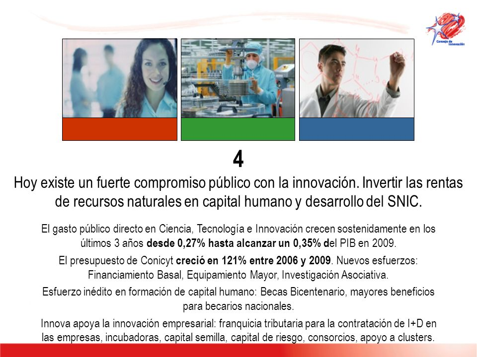 4 Hoy existe un fuerte compromiso público con la innovación. Invertir las rentas de recursos naturales en capital humano y desarrollo del SNIC. El gas