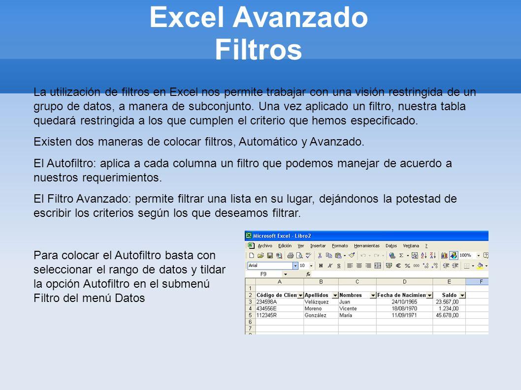 Excel Avanzado Filtros La utilización de filtros en Excel nos permite trabajar con una visión restringida de un grupo de datos, a manera de subconjunt