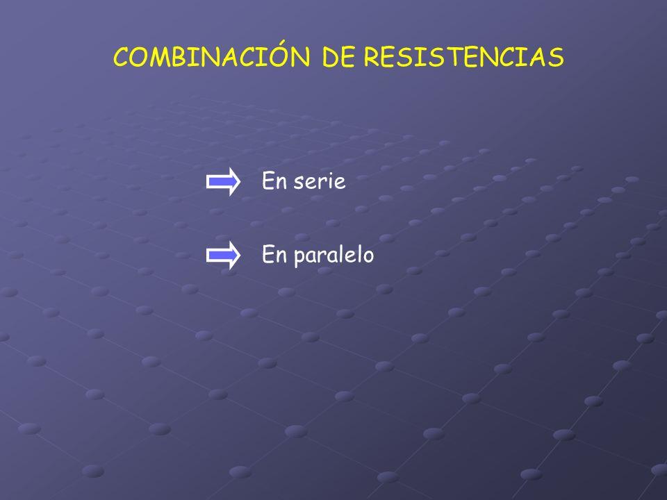 COMBINACIÓN DE RESISTENCIAS En serie En paralelo