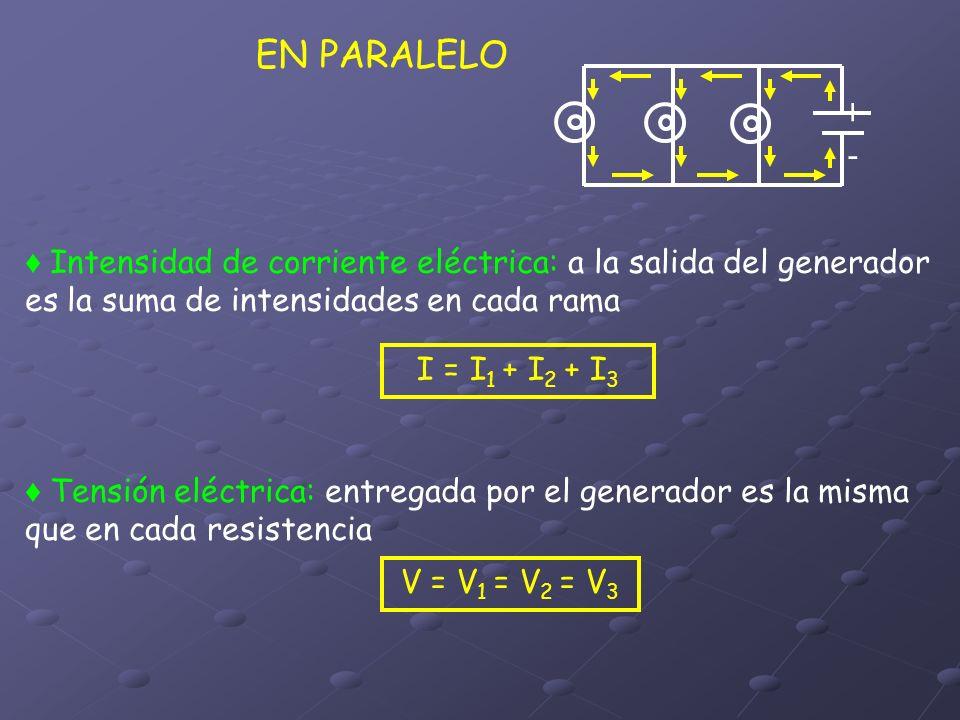 EN PARALELO Intensidad de corriente eléctrica: a la salida del generador es la suma de intensidades en cada rama Tensión eléctrica: entregada por el g