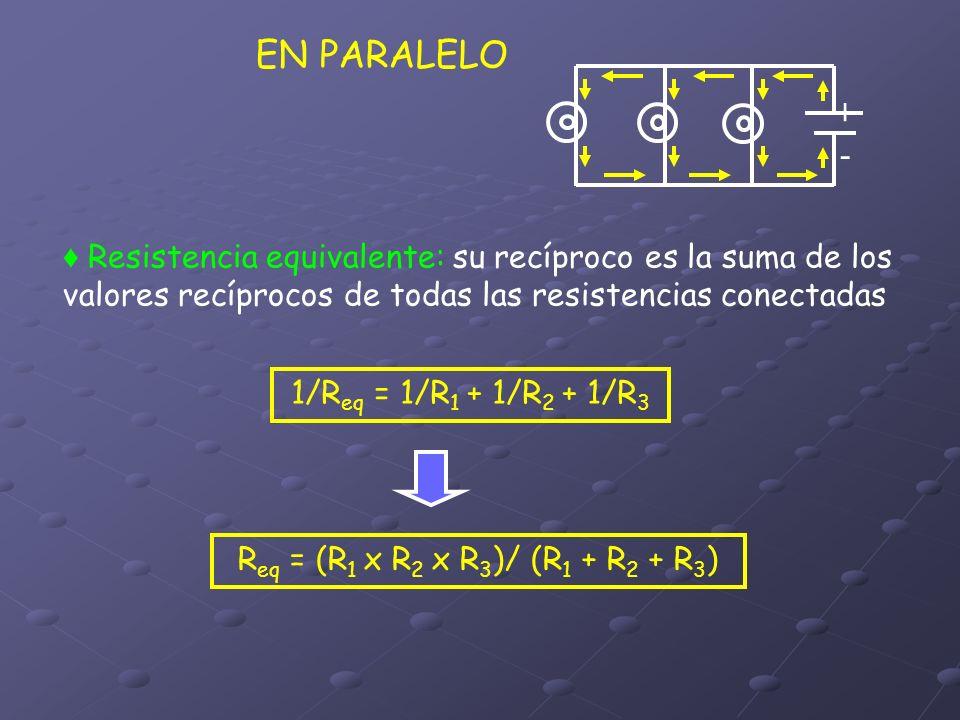 EN PARALELO Resistencia equivalente: su recíproco es la suma de los valores recíprocos de todas las resistencias conectadas 1/R eq = 1/R 1 + 1/R 2 + 1