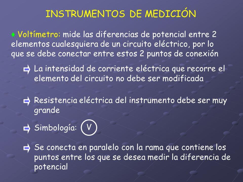 INSTRUMENTOS DE MEDICIÓN Voltímetro: mide las diferencias de potencial entre 2 elementos cualesquiera de un circuito eléctrico, por lo que se debe con