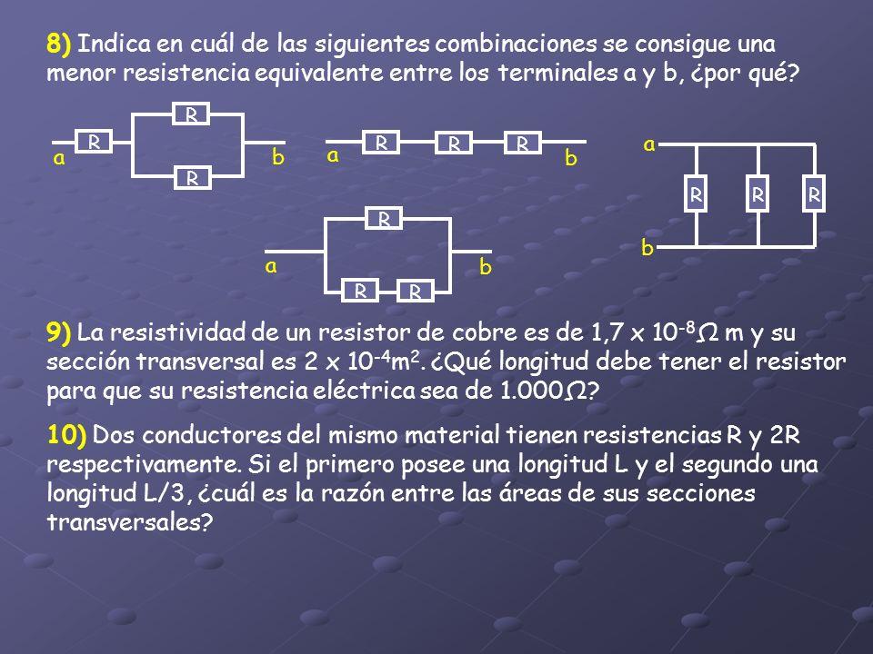 8) Indica en cuál de las siguientes combinaciones se consigue una menor resistencia equivalente entre los terminales a y b, ¿por qué? R R R ab R RR a