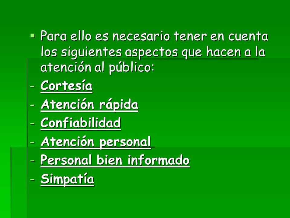 Para ello es necesario tener en cuenta los siguientes aspectos que hacen a la atención al público: Para ello es necesario tener en cuenta los siguient