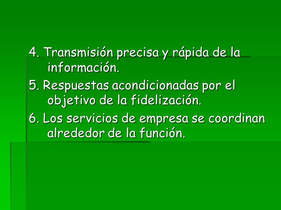 4. Transmisión precisa y rápida de la información. 5. Respuestas acondicionadas por el objetivo de la fidelización. 6. Los servicios de empresa se coo
