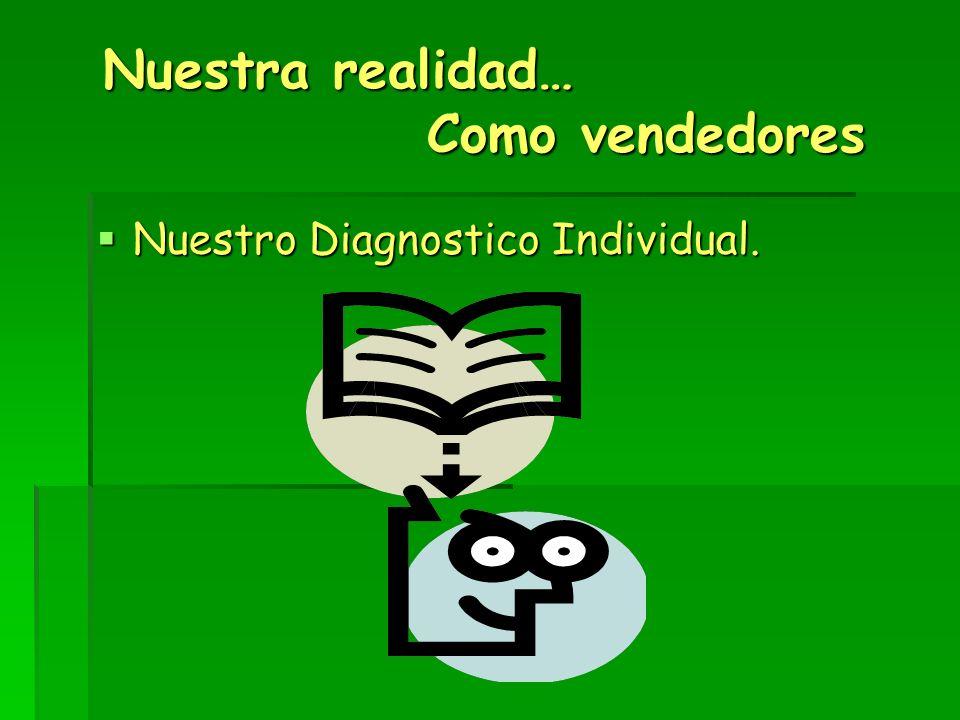 Nuestra realidad… Como vendedores Nuestra realidad… Como vendedores Nuestro Diagnostico Individual. Nuestro Diagnostico Individual.