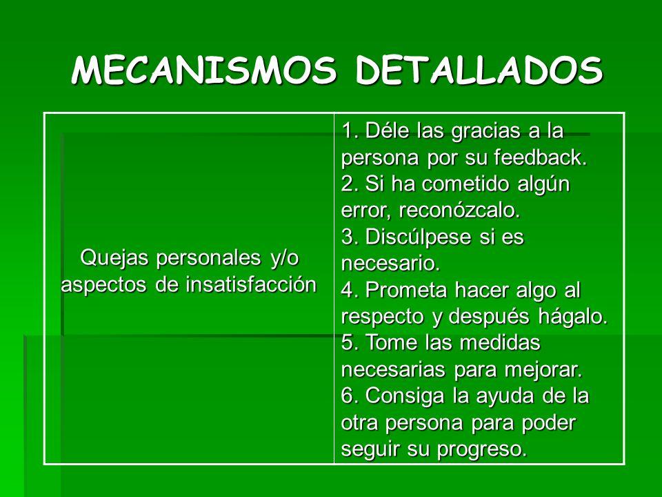 MECANISMOS DETALLADOS Quejas personales y/o aspectos de insatisfacción 1. Déle las gracias a la persona por su feedback. 2. Si ha cometido algún error