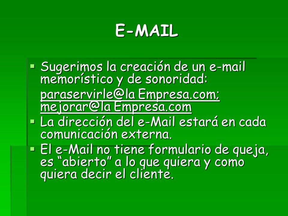 E-MAIL Sugerimos la creación de un e-mail memorístico y de sonoridad: Sugerimos la creación de un e-mail memorístico y de sonoridad: paraservirle@la E