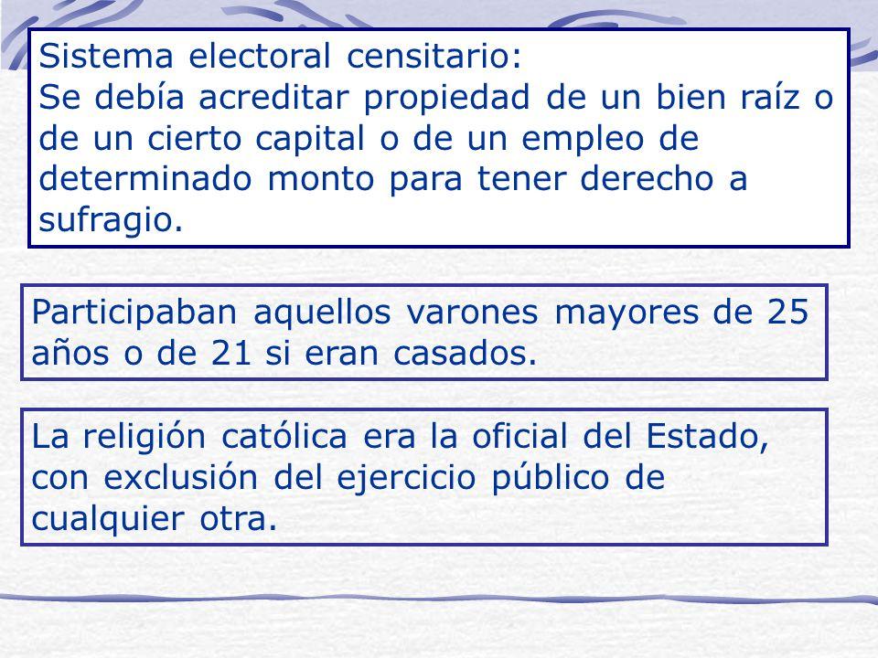 Sistema electoral censitario: Se debía acreditar propiedad de un bien raíz o de un cierto capital o de un empleo de determinado monto para tener derec