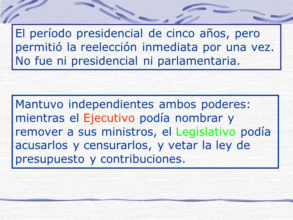 El período presidencial de cinco años, pero permitió la reelección inmediata por una vez. No fue ni presidencial ni parlamentaria. Mantuvo independien