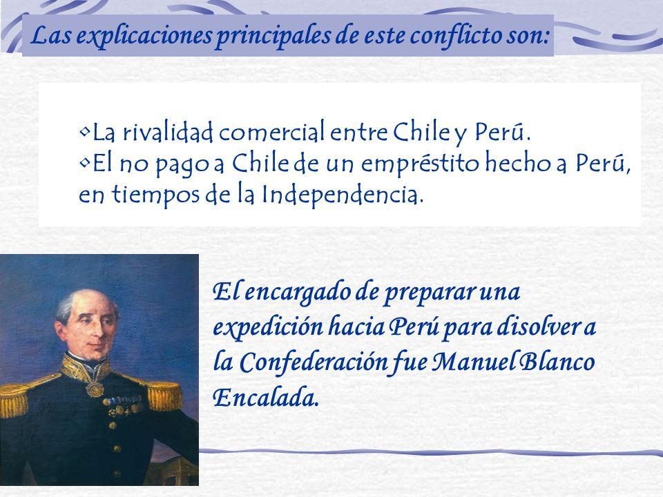 La rivalidad comercial entre Chile y Perú. El no pago a Chile de un empréstito hecho a Perú, en tiempos de la Independencia. Las explicaciones princip