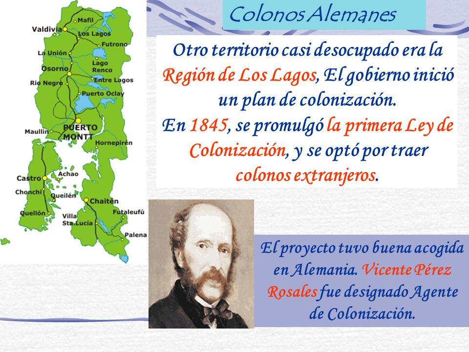 Otro territorio casi desocupado era la Región de Los Lagos, El gobierno inició un plan de colonización. En 1845, se promulgó la primera Ley de Coloniz