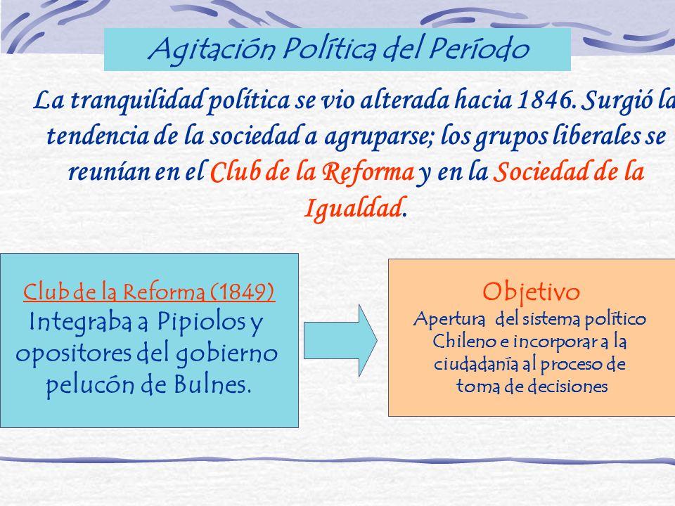 Agitación Política del Período La tranquilidad política se vio alterada hacia 1846. Surgió la tendencia de la sociedad a agruparse; los grupos liberal