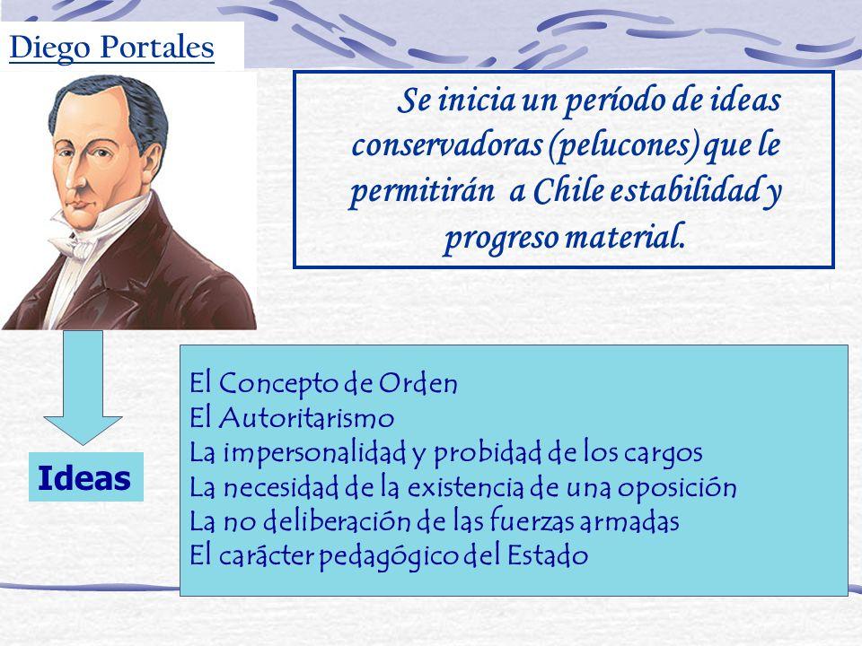 Se inicia un período de ideas conservadoras (pelucones) que le permitirán a Chile estabilidad y progreso material. El Concepto de Orden El Autoritaris