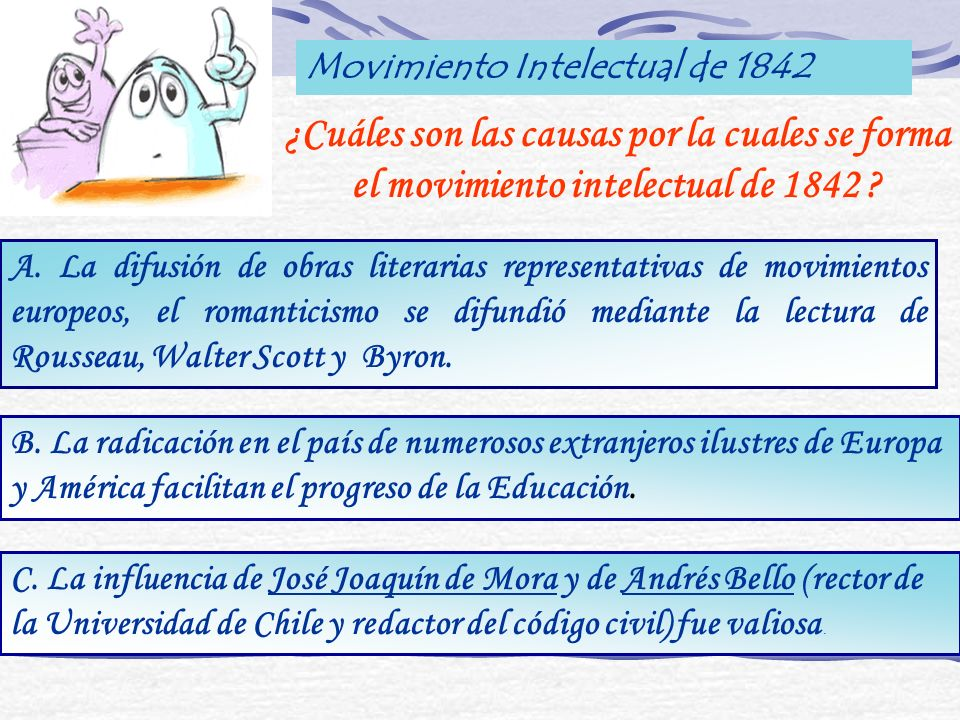 Movimiento Intelectual de 1842 ¿Cuáles son las causas por la cuales se forma el movimiento intelectual de 1842 ? A. La difusión de obras literarias re