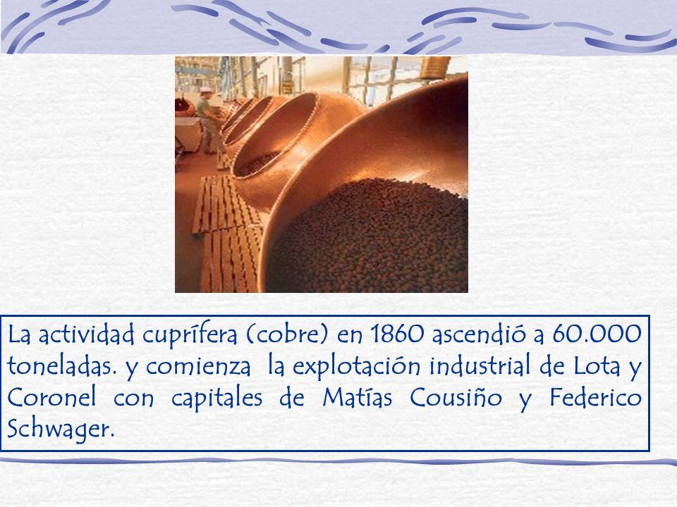 La actividad cuprífera (cobre) en 1860 ascendió a 60.000 toneladas. y comienza la explotación industrial de Lota y Coronel con capitales de Matías Cou