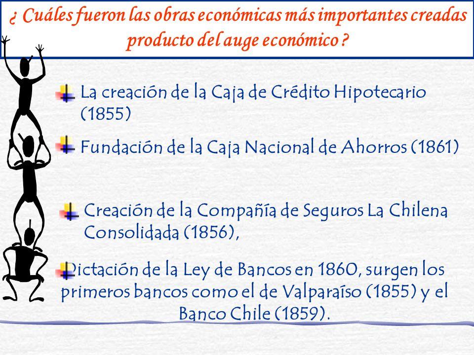 ¿ Cuáles fueron las obras económicas más importantes creadas producto del auge económico ? La creación de la Caja de Crédito Hipotecario (1855) Fundac