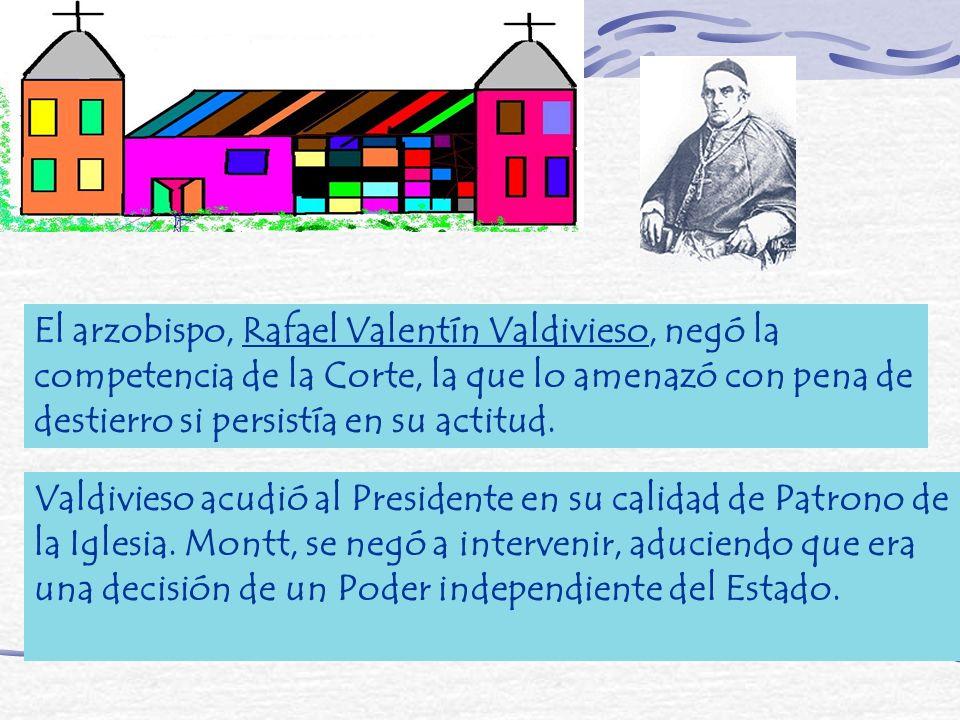 El arzobispo, Rafael Valentín Valdivieso, negó la competencia de la Corte, la que lo amenazó con pena de destierro si persistía en su actitud. Valdivi