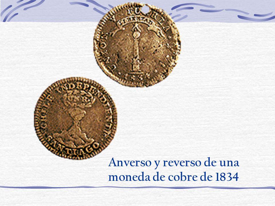 Anverso y reverso de una moneda de cobre de 1834