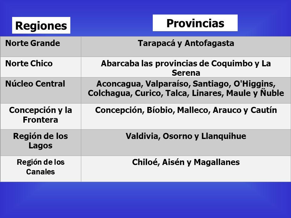 Norte GrandeTarapacá y Antofagasta Norte ChicoAbarcaba las provincias de Coquimbo y La Serena Núcleo CentralAconcagua, Valparaíso, Santiago, O'Higgins