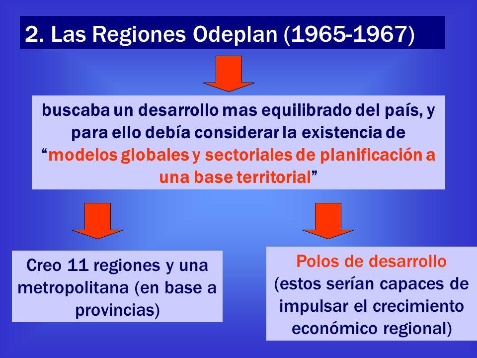 2. Las Regiones Odeplan (1965-1967) buscaba un desarrollo mas equilibrado del país, y para ello debía considerar la existencia demodelos globales y se