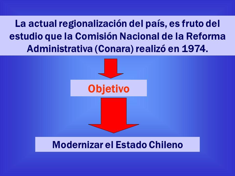 La actual regionalización del país, es fruto del estudio que la Comisión Nacional de la Reforma Administrativa (Conara) realizó en 1974. Objetivo Mode