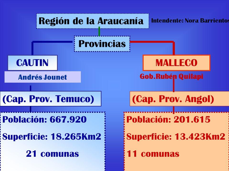 Región de la Araucanía CAUTIN Provincias MALLECO (Cap. Prov. Angol) (Cap. Prov. Temuco) Población: 201.615 Superficie: 13.423Km2 11 comunas Población: