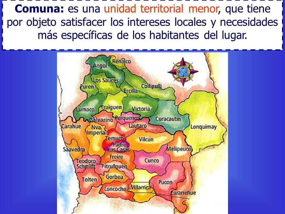 Comuna: es una unidad territorial menor, que tiene por objeto satisfacer los intereses locales y necesidades más específicas de los habitantes del lug
