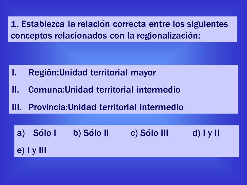 1. Establezca la relación correcta entre los siguientes conceptos relacionados con la regionalización: I.Región:Unidad territorial mayor II.Comuna:Uni
