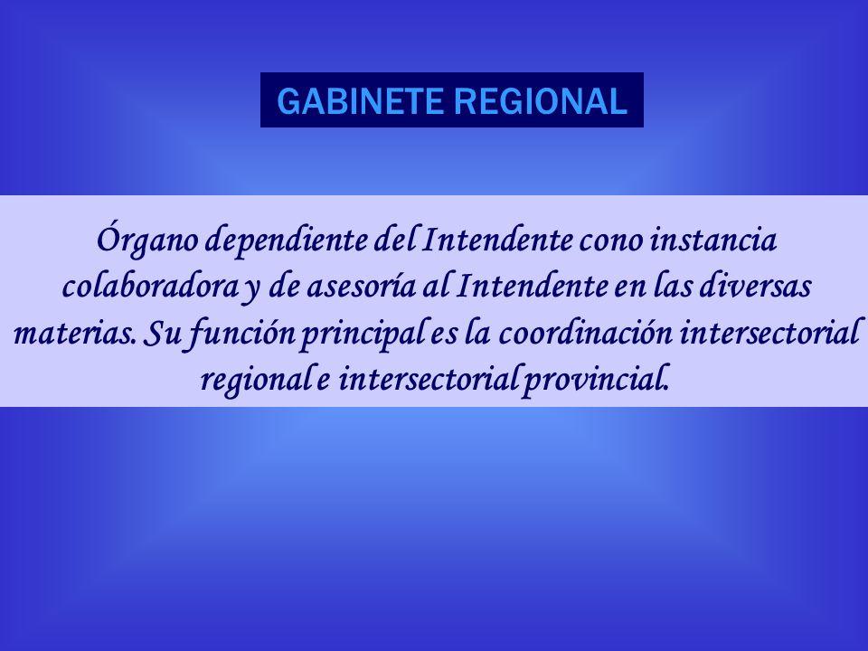 GABINETE REGIONAL Órgano dependiente del Intendente cono instancia colaboradora y de asesoría al Intendente en las diversas materias. Su función princ