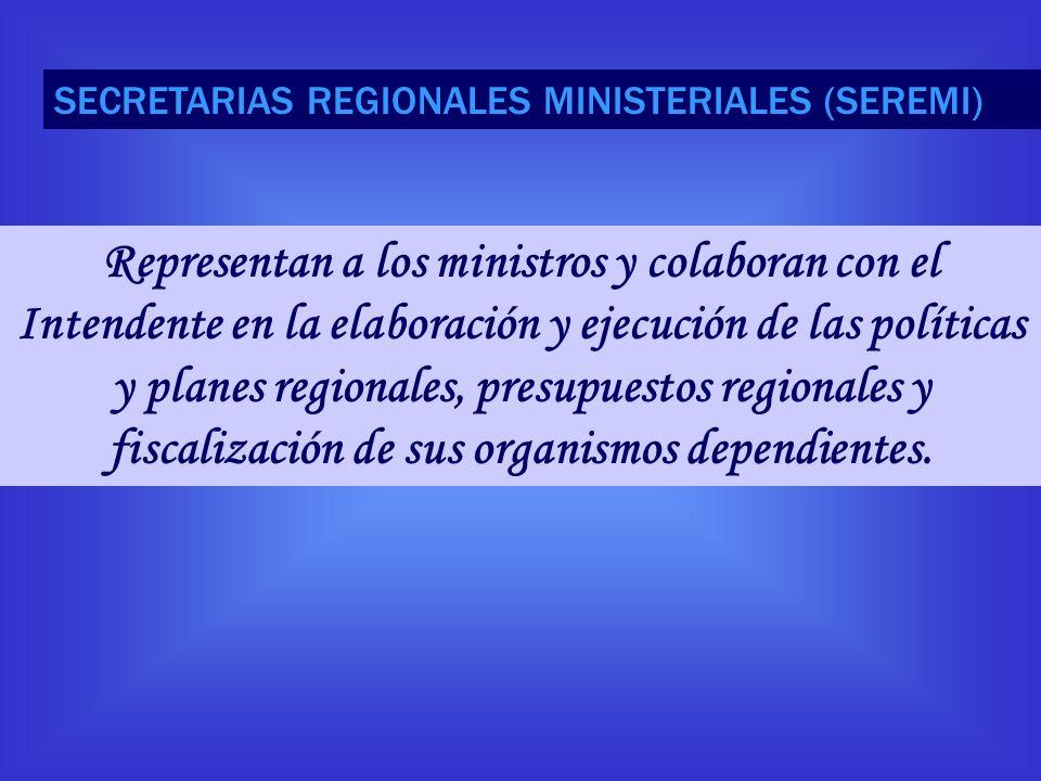 Representan a los ministros y colaboran con el Intendente en la elaboración y ejecución de las políticas y planes regionales, presupuestos regionales