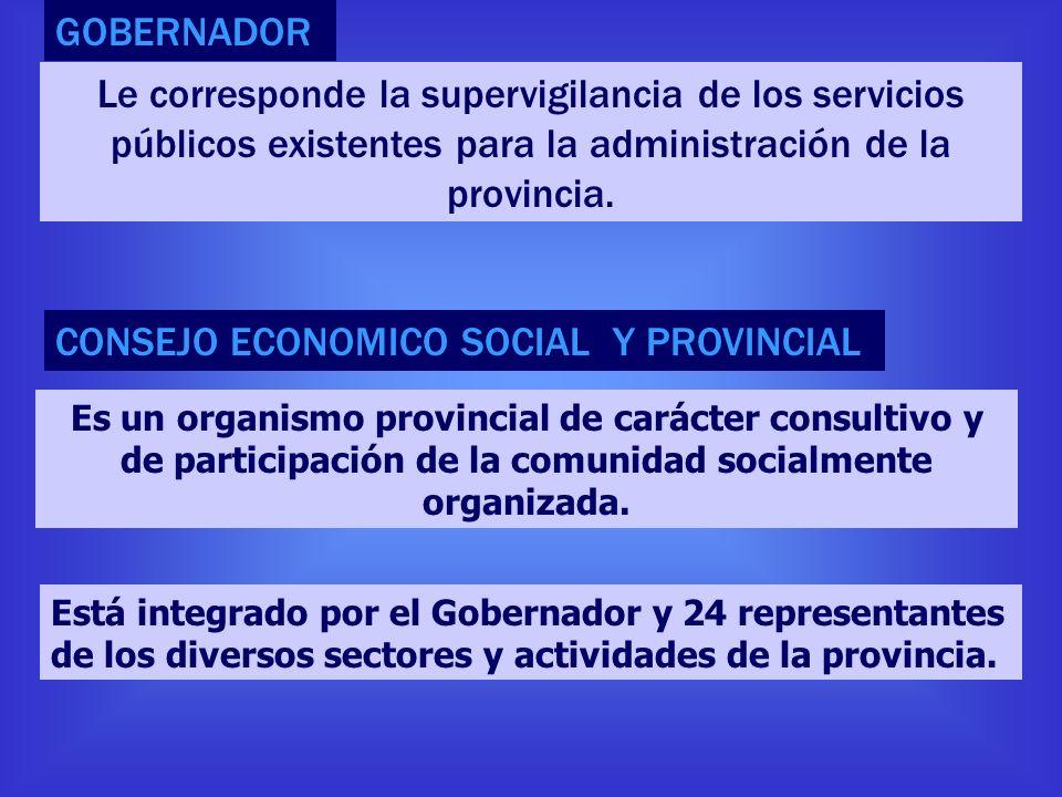 GOBERNADOR Le corresponde la supervigilancia de los servicios públicos existentes para la administración de la provincia. Es un organismo provincial d