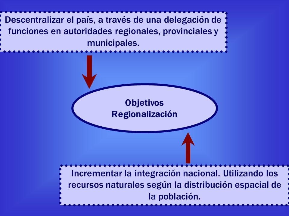 Descentralizar el país, a través de una delegación de funciones en autoridades regionales, provinciales y municipales. Incrementar la integración naci