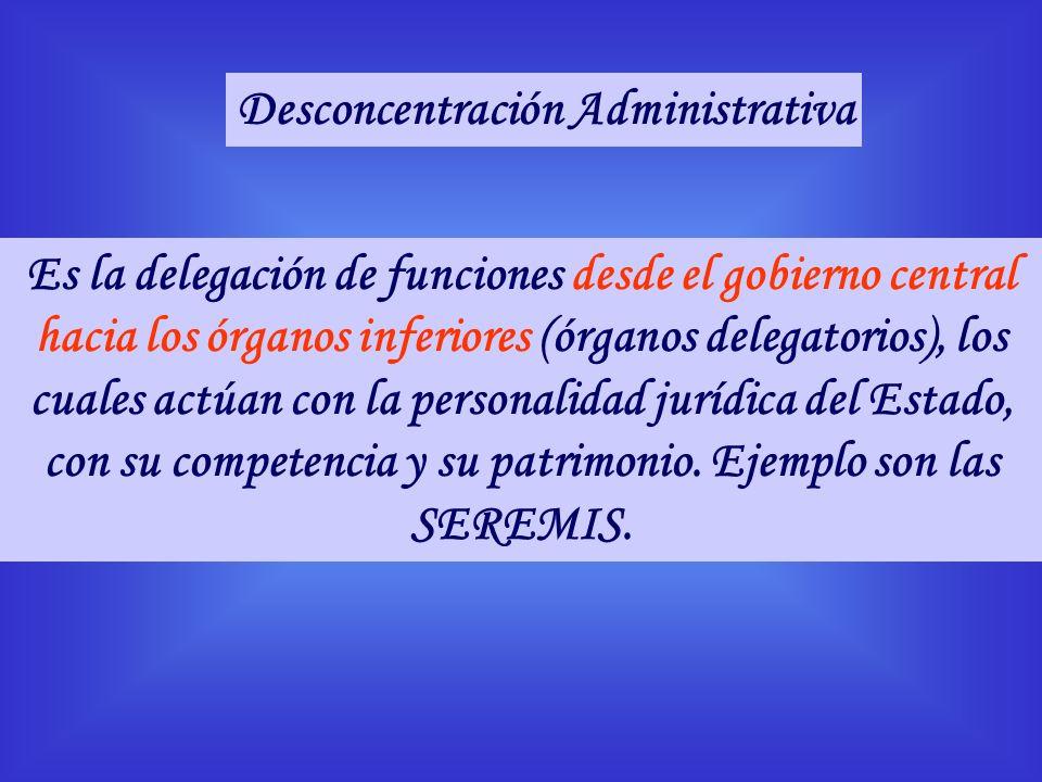 Es la delegación de funciones desde el gobierno central hacia los órganos inferiores (órganos delegatorios), los cuales actúan con la personalidad jur