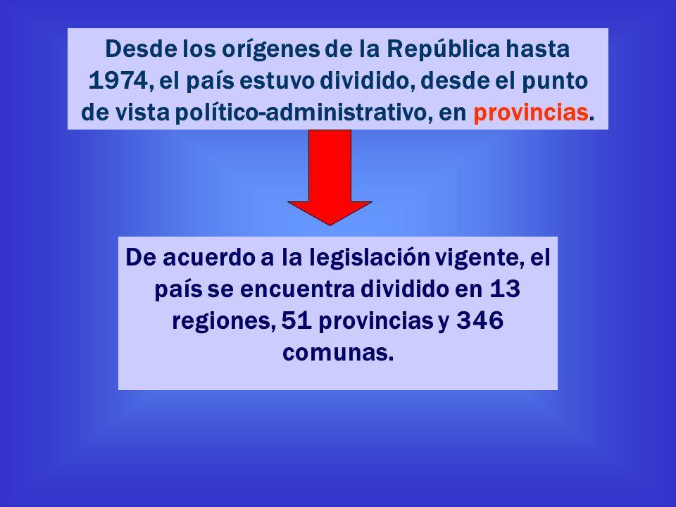 De acuerdo a la legislación vigente, el país se encuentra dividido en 13 regiones, 51 provincias y 346 comunas. Desde los orígenes de la República has